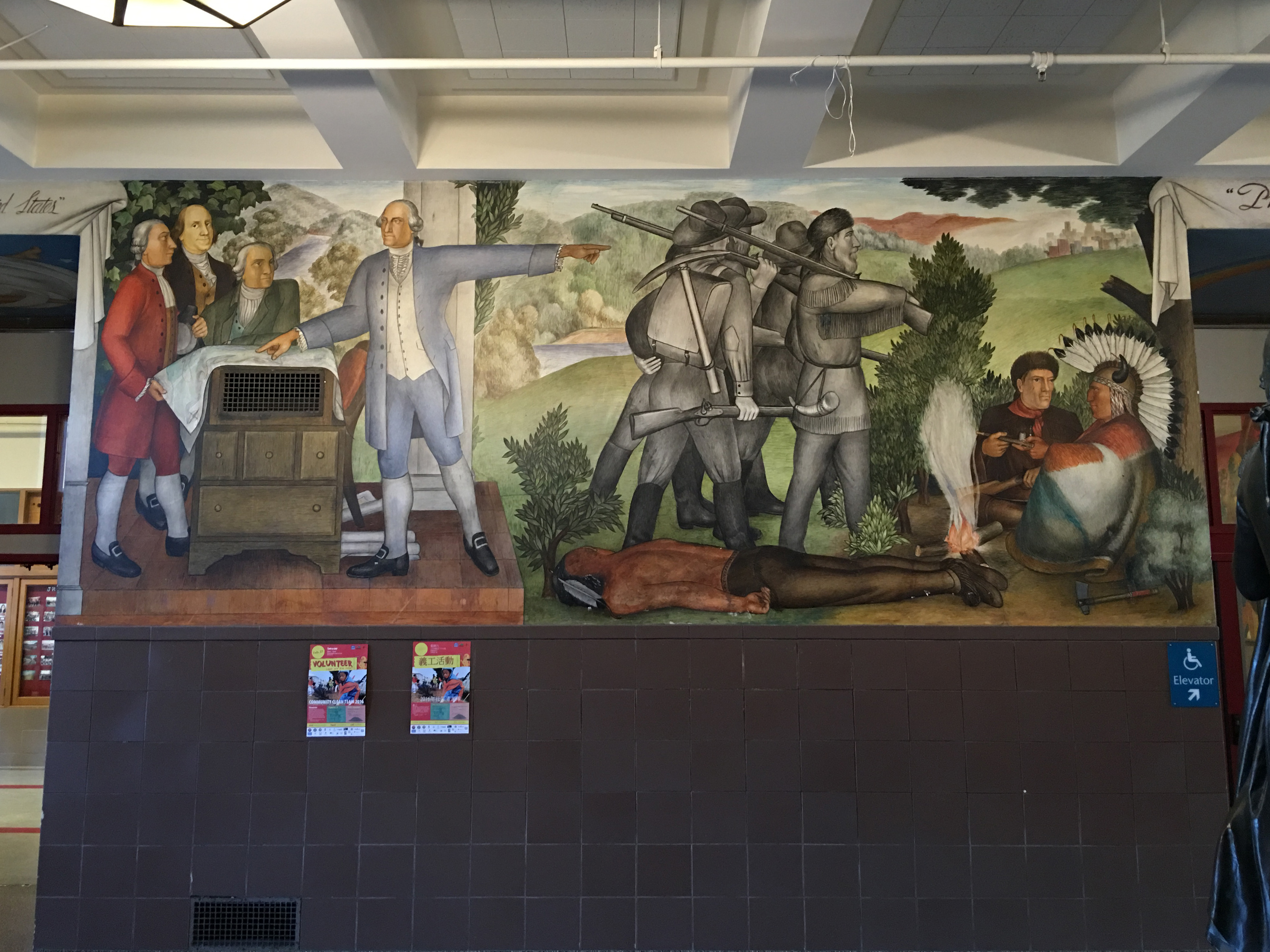 Victor Arnautoff Life of Washington buon fresco murals: Washington points the way west as Benjamin Franklin gives side-eye, ghostly frontiersmen annihilates the Native American way of life, leading to a modern metropolis at top right. Credit: Tammy Aramia