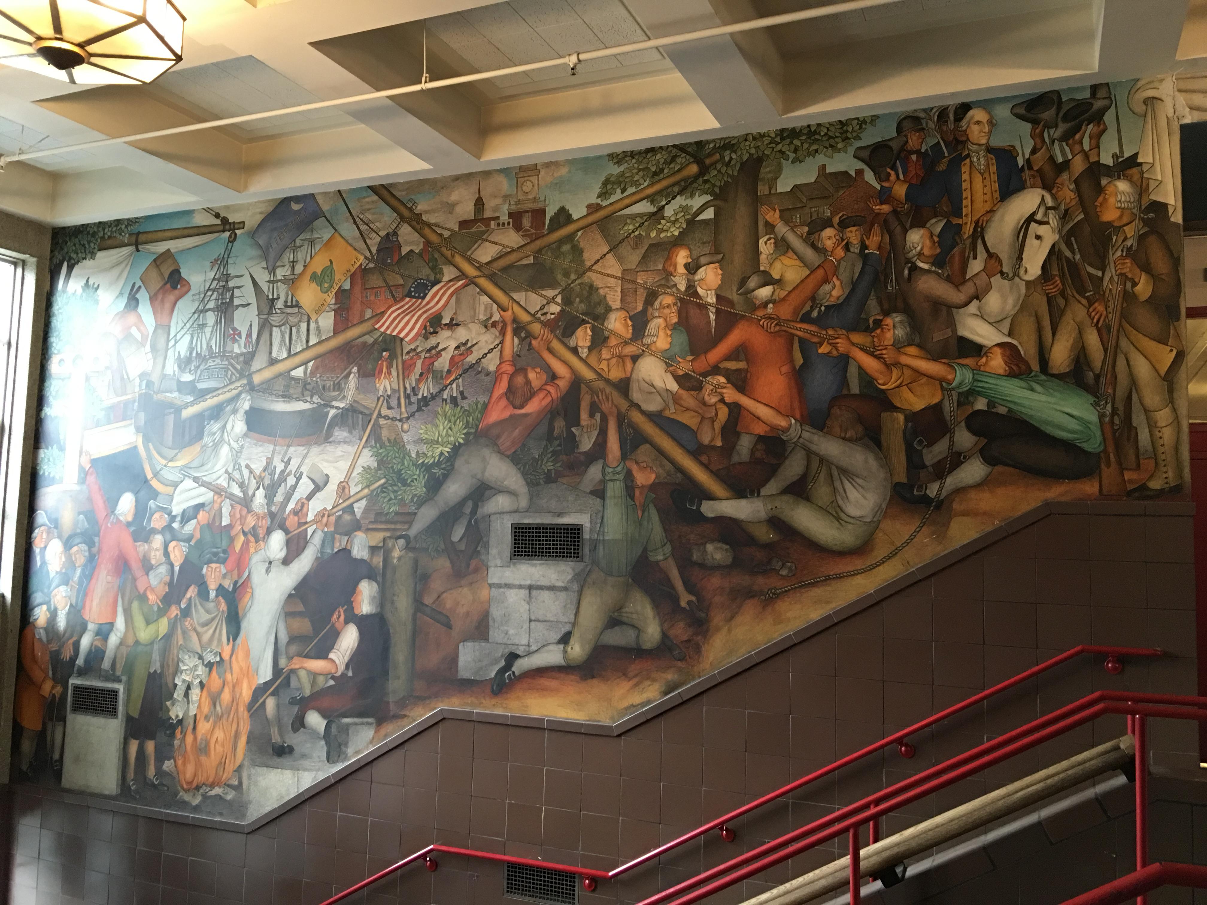 Victor Arnautoff Life of Washington buon fresco murals: beginning of the Revolution. Credit: Tammy Aramian/GWHS Alumni Association.