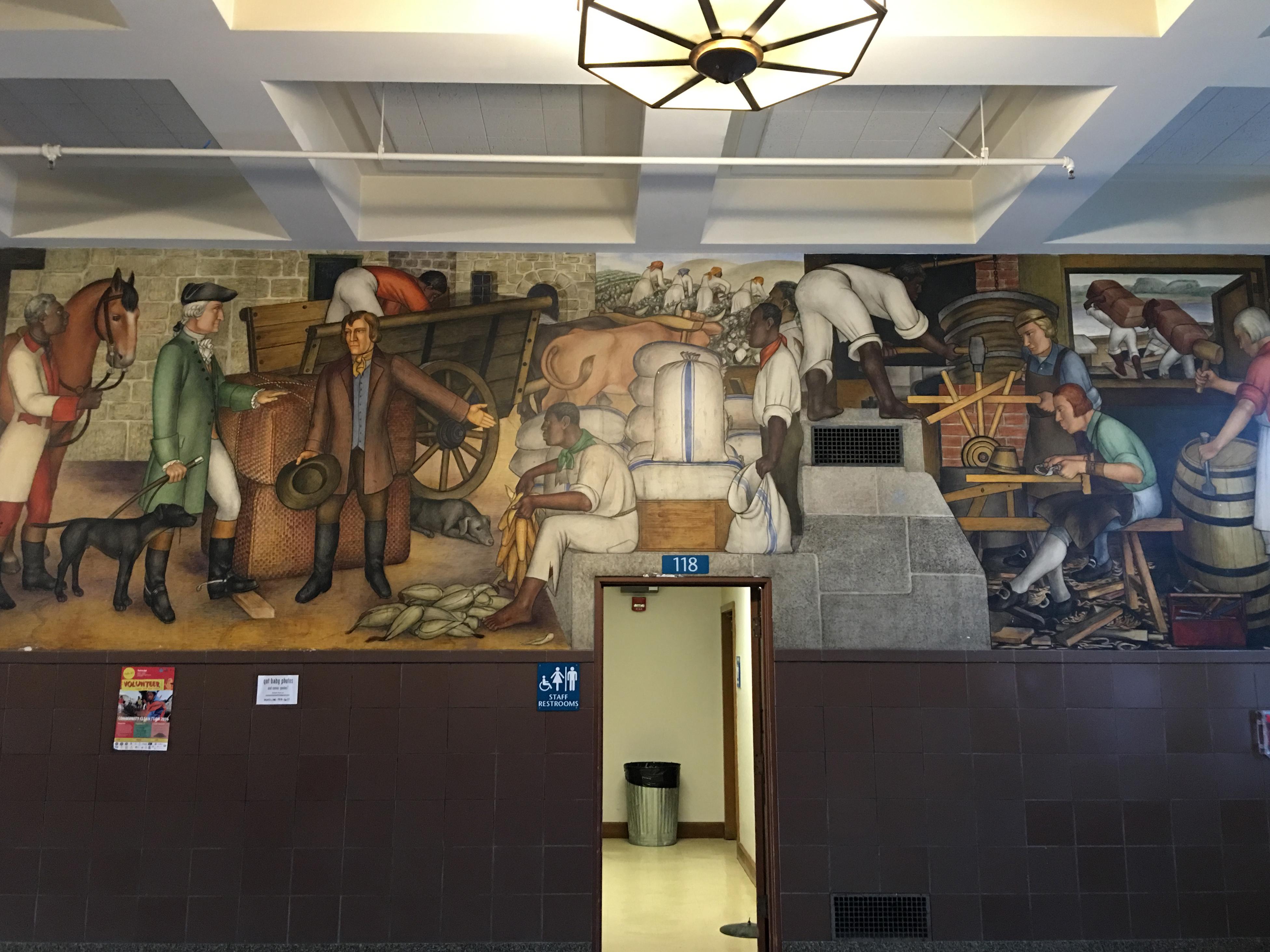 Victor Arnautoff Life of Washington buon fresco murals: Washington at Mount Vernon with the laborers of a plantation: enslaved African-Americans as well as Caucasian tradesmen. Credit: Tammy Aramian/GWHS Alumni Association.