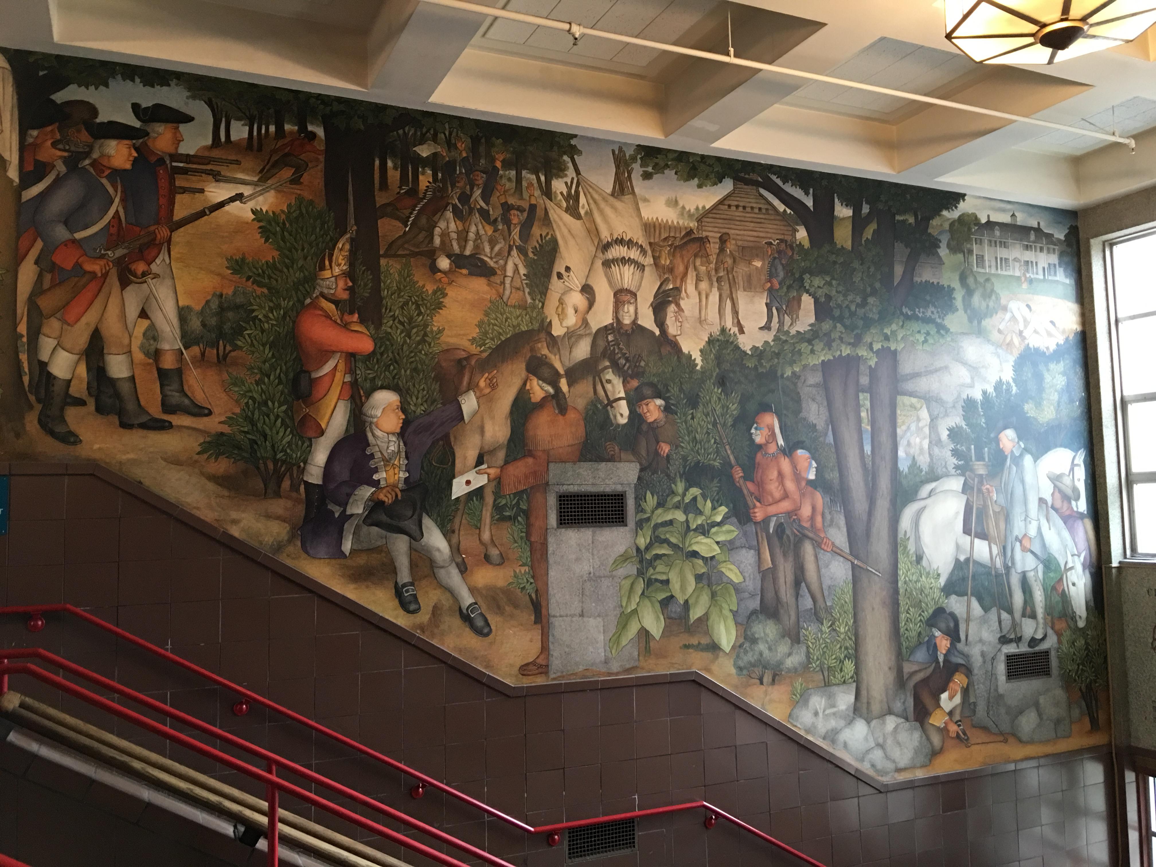 Victor Arnautoff Life of Washington buon fresco murals: Washington's early years. Credit: Tammy Aramian/GWHS Alumni Association.